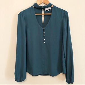 WAYF teal keyhole blouse